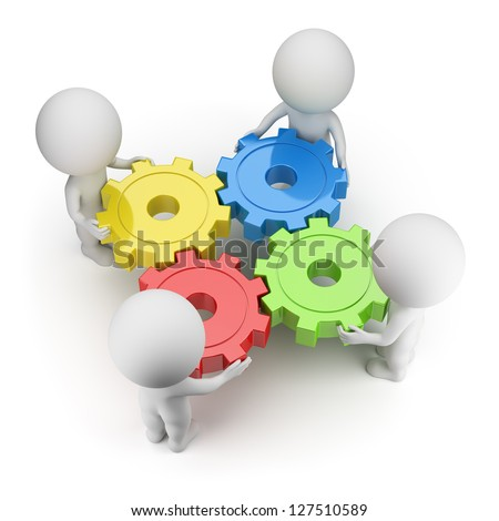 3d small people twist colorful gears. 3d image. White background. - stock photo