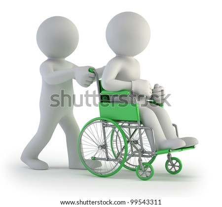 3d small people - Wheelchair - stock photo
