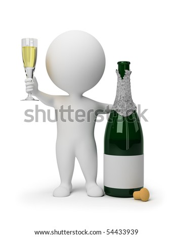 3d small people with a bottle of champagne and a wine glass. 3d image. Isolated white background. - stock photo