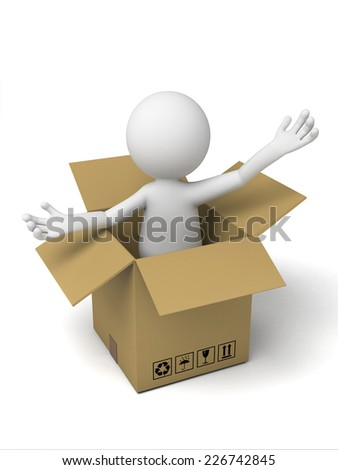 3d small people with a cardboard box. 3d image. Isolated white background - stock photo