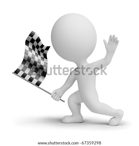 3d small people with a checkered flag in hands. 3d image. Isolated white background. - stock photo