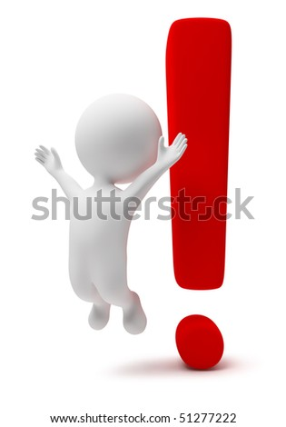 3d small people with a exclamation mark. 3d image. Isolated white background.