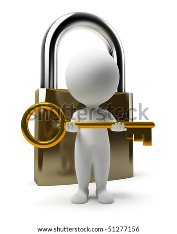 3d small people with a key and the lock. 3d image. Isolated white background. - stock photo