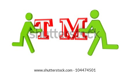 3d small people with a trademark symbol in a hands.Isolated on white. - stock photo
