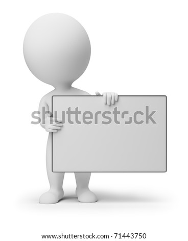 3d small people with an empty signboard in hands. 3d image. Isolated white background. - stock photo