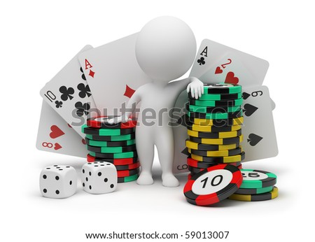 3d small people with counters for a roulette, playing cards and bones. 3d image. Isolated white background.