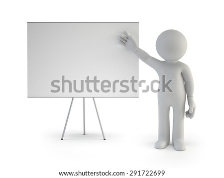 3d small people - with empty board - stock photo