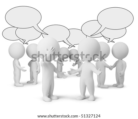 3d small people with empty chat bubbles. 3d image. Isolated white background. - stock photo
