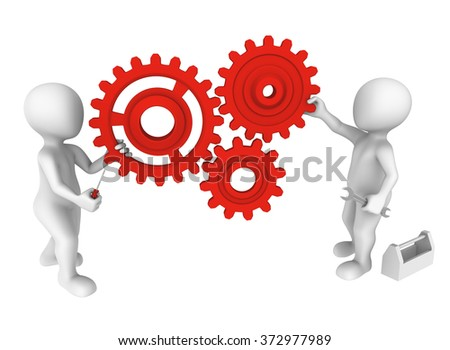 3d small people with gears.