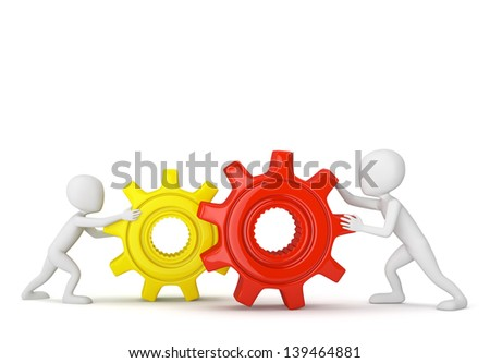 3D small people with gears. 3d image. On a white background.