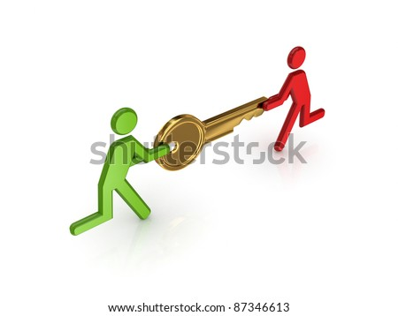 3d small people with golden key in a hands.Isolated on white background. - stock photo