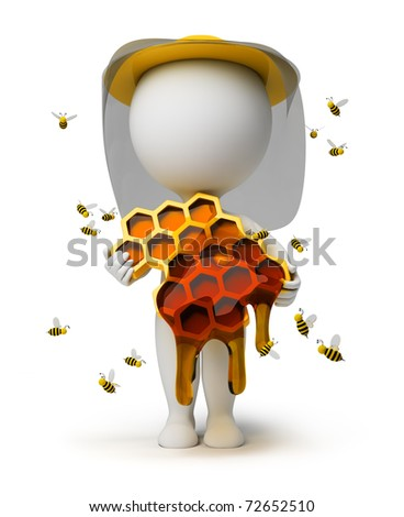 3d small people with honeycombs and honey in hands in a hat, surrounded with bees. 3d image. Isolated white background. - stock photo