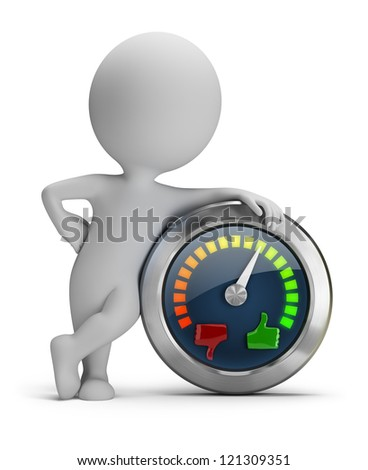 3d small people with mood meter. 3d image. Isolated white background. - stock photo