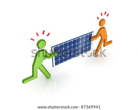 3d small people with solar battery in a hands.Isolated on white background. - stock photo