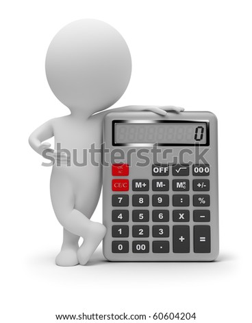 3d small people with the calculator. 3d image. Isolated white background. - stock photo