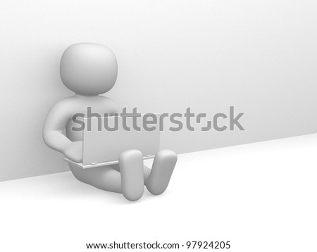 3d small people working on the laptop. 3d render illustration - stock photo