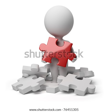 3d small person a holding over red brilliant puzzle. 3d image. Isolated white background. - stock photo