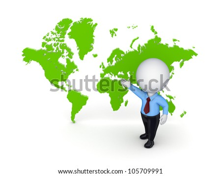 3d small person against map of the world.Isolated on white background.