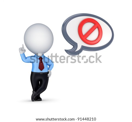 3d small person and AT symbol.Isolated on white background. - stock photo