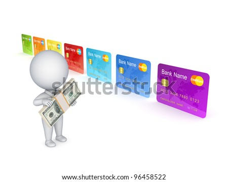 3d small person and colorful credit card.Isolated on white background. - stock photo
