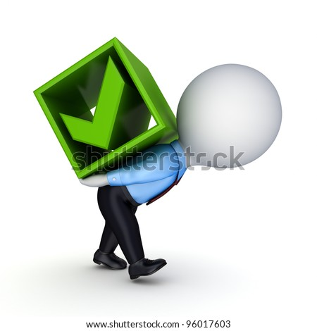 3d small person and green tick mark.Isolated on white background. - stock photo