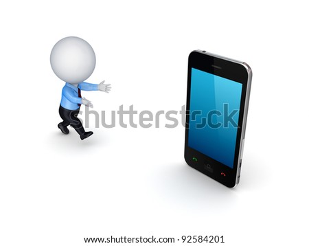 3d small person and modern mobile phone.Isolated on white background.