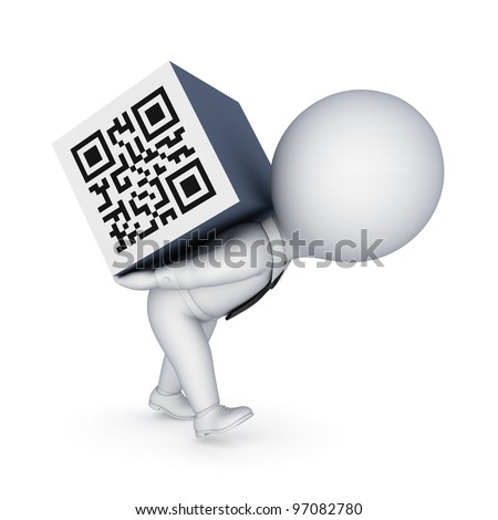 3d small person and QR code.isolated on white background.