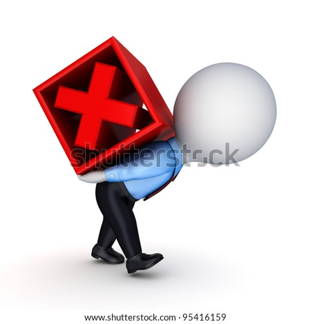 3d small person and red cross mark.Isolated on white background.3d rendered. - stock photo