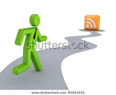 3d small person and RSS symbol. Isolated on white background. - stock photo