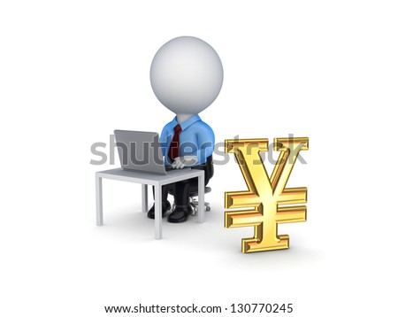 3d small person and sign of yen.Isolated on white background. - stock photo