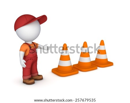 3d small person and traffic cones.Isolated on white background.3d rendered.