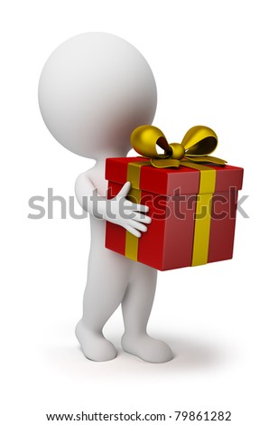 3d small person bears a red box-gift with a gold bow. 3d image. Isolated white background. - stock photo