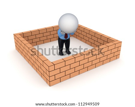 3d small person behind brick wall.Isolated on white background. - stock photo