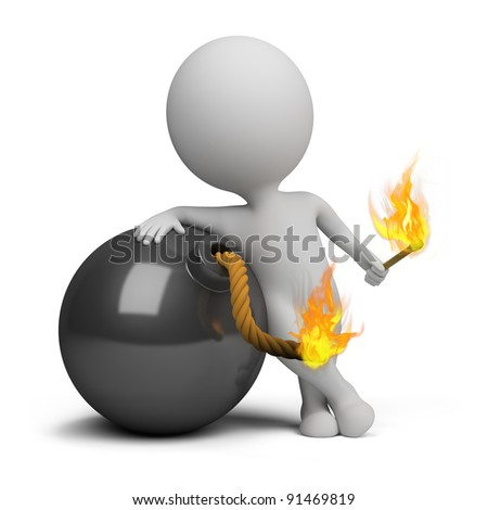 3d small person bomb igniting the wick. 3d image. Isolated white background. - stock photo