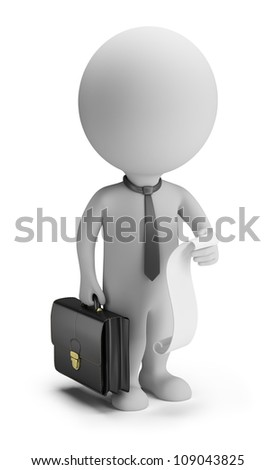 3d small person - businessman with a list of cases and a briefcase. 3d image. Isolated white background.