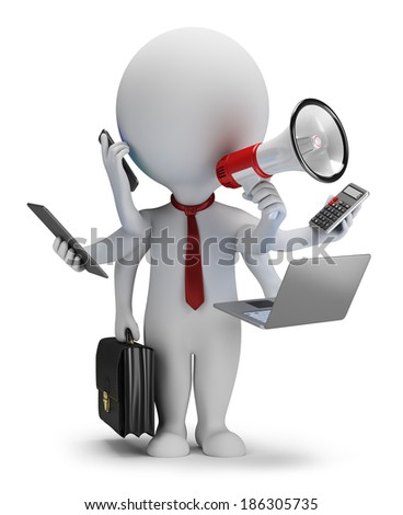 3d small person - businessman with six hands. 3d image. White background. - stock photo
