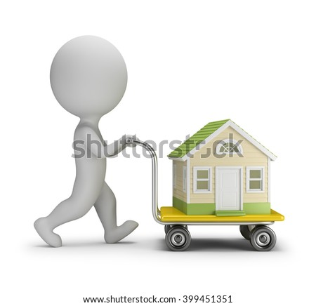 3d small person carries home a trolley. 3d image. White background.