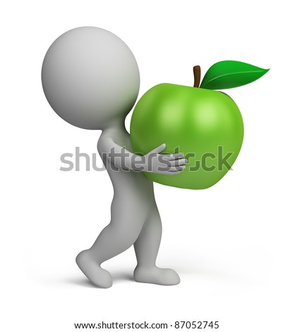 3d small person carrying a green apple. 3d image. Isolated white background. - stock photo