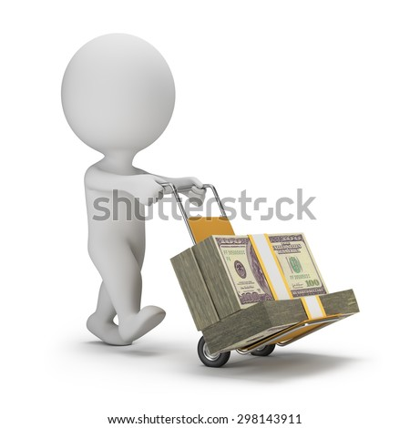 3d small person carrying cart with packs of dollars. 3d image. White background.