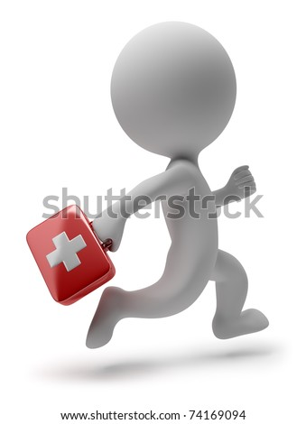 3d small person - doctor with the first-aid set running on a call. 3d image. Isolated white background. - stock photo