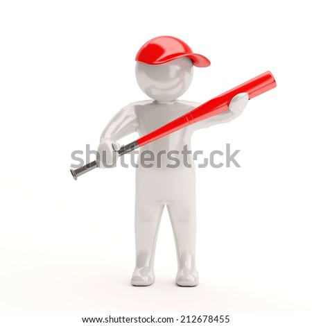 3 d small person holding a baseball bat. 3 d image. White background.
