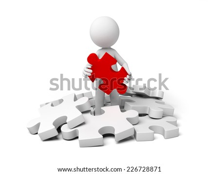 3d small person holding a red  puzzle. - stock photo