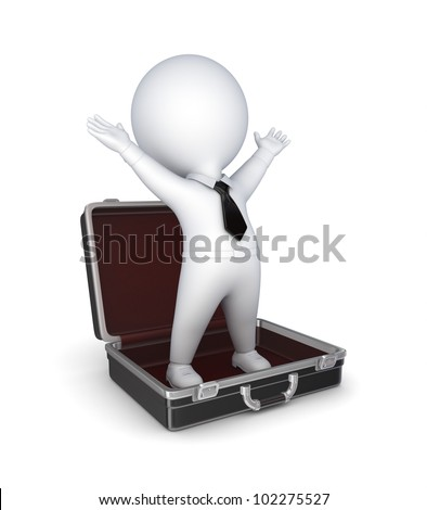 3d small person in opened suitcase.Isolated on white background.