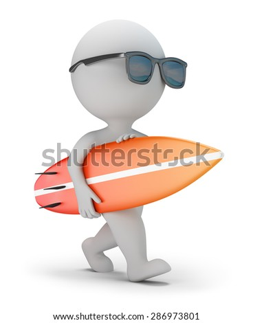 3d small person in sunglasses walking with surfboard. 3d image. White background.