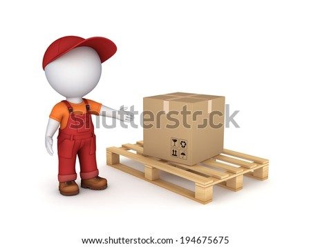 3d small person in workwear and carton box. - stock photo