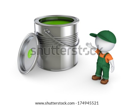 3d small person in workwear and paint can.Isolated on white.