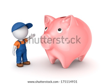 3d small person in workwear and piggy-bank.Isolated on white.