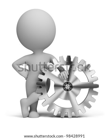 3d small person leaning on a gear. 3d image. Isolated white background.