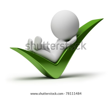 3d small person lying in a positive symbol. 3d image. Isolated white background.