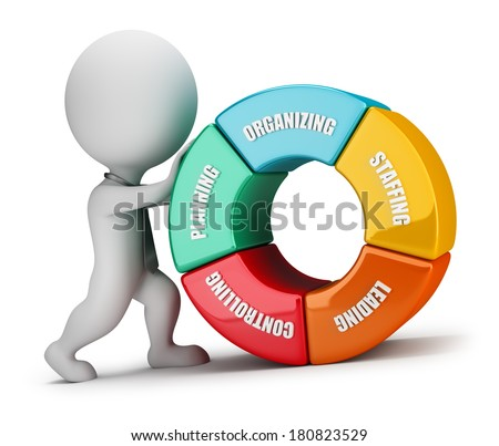 3d small person - manager pushing uphill chart management. 3d image. White background. - stock photo